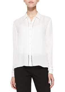 Perforated Long-Sleeve Silk Blouse   Perforated Long-Sleeve Silk Blouse