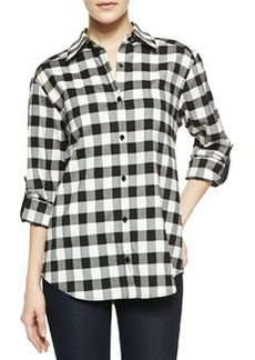 Piper Check Button-Down Shirt with Leather Tabs   Piper Check Button-Down Shirt with Leather Tabs