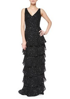 Powell Beaded Tiered Ruffled Gown   Powell Beaded Tiered Ruffled Gown