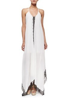 Alice + Olivia Rav Lace-Trim Handkerchief-Hem Dress, Cream