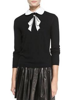 Ribbon-Graphic Knit Sweater   Ribbon-Graphic Knit Sweater