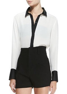 Rita Contrast-Trim French-Cuff Blouse   Rita Contrast-Trim French-Cuff Blouse