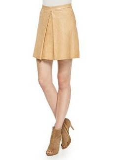 Russo Inverted-Pleat Leather Skirt   Russo Inverted-Pleat Leather Skirt