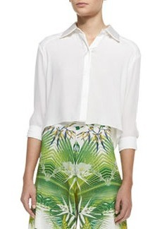 Sharon Cropped Button-Front Blouse   Sharon Cropped Button-Front Blouse