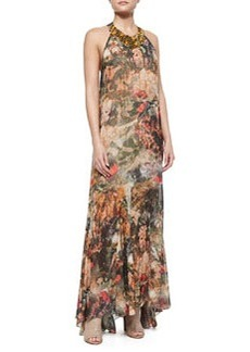Alice + Olivia Shona Bead-Neck Printed Maxi Dress