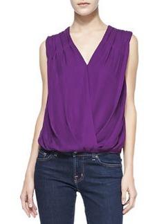 Silk/Linen Gathered-Shoulder Top   Silk/Linen Gathered-Shoulder Top