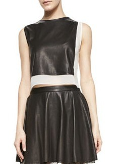 Sleeveless Combo Leather Crop-Top   Sleeveless Combo Leather Crop-Top