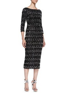 Stein Scalloped Beaded 3/4-Sleeve Sheath Dress   Stein Scalloped Beaded 3/4-Sleeve Sheath Dress