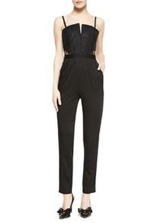 Structured Bustier Skinny-Leg Jumpsuit   Structured Bustier Skinny-Leg Jumpsuit