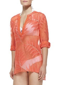 Tab-Sleeve Palm-Pattern Coverup   Tab-Sleeve Palm-Pattern Coverup