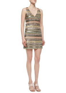 Alice + Olivia Venetia Beaded V-Neck Dress