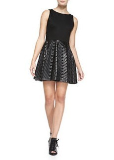 Zilla Leather Swing-Skirt Combo Dress   Zilla Leather Swing-Skirt Combo Dress