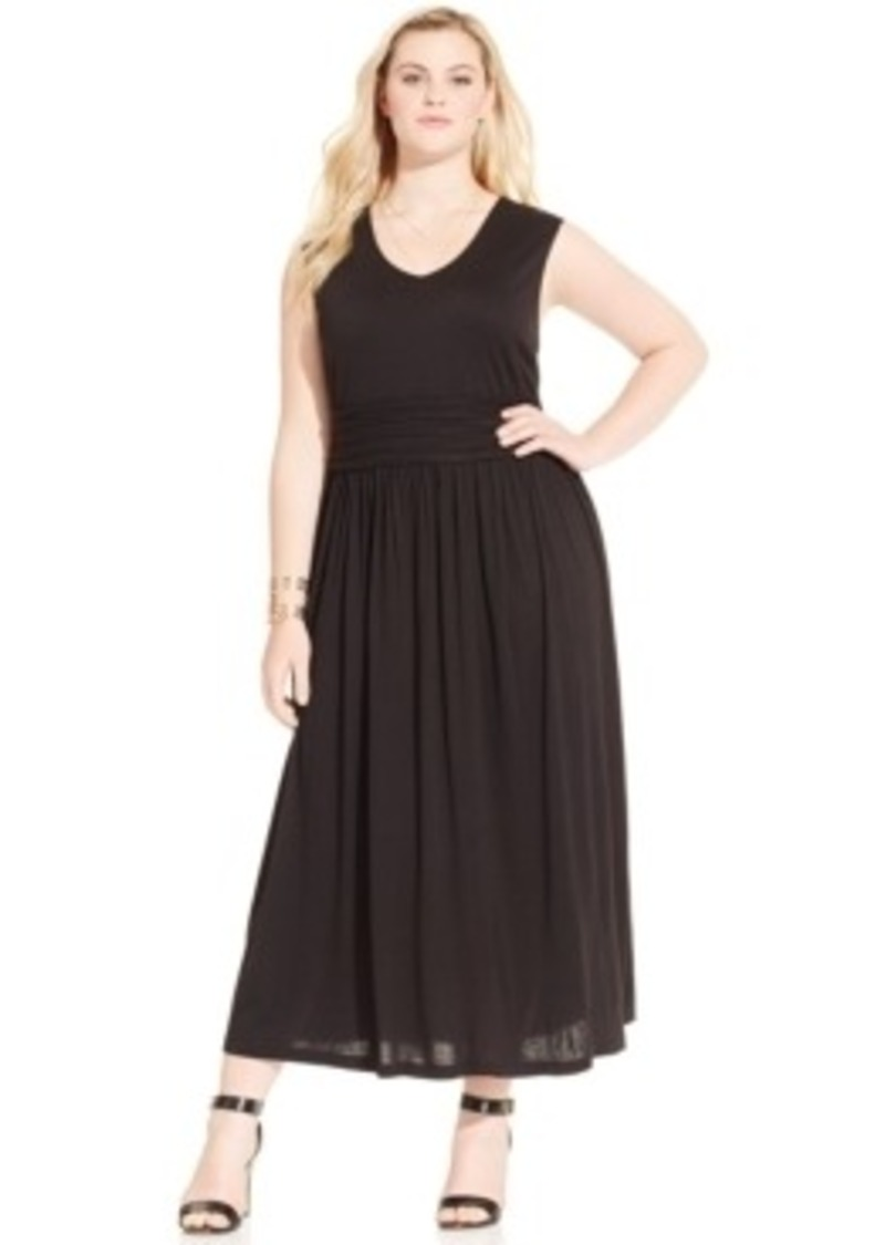 Plus size sleeveless empire waist maxi dress dresses shop it to me
