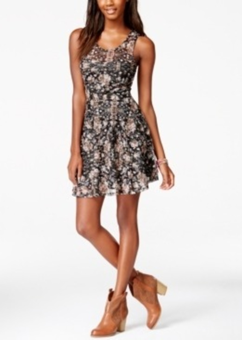 American Rag American Rag Printed Lace Fit And Flare Dress