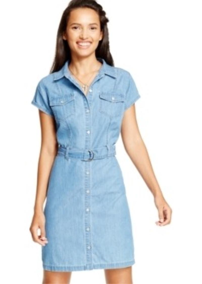 american rag american rag short sleeve denim shirt dress
