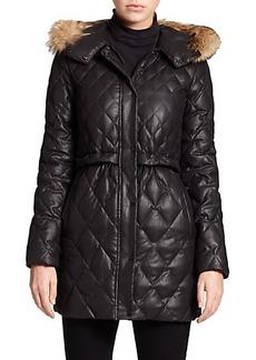 Andrew Marc Ava Fur-Trim Quilted Coat