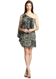 Andrew Marc black and natural printed silk one shoulder drape dress