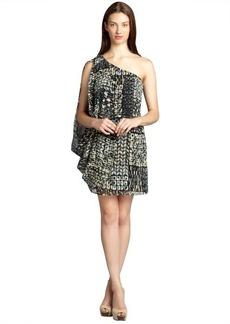 Andrew Marc black and natural printed silk one shoulder drape dress