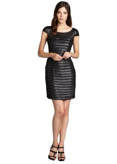 Andrew Marc black cap sleeved sheer contrast and pleated dress
