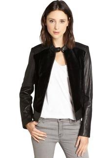 Andrew Marc black fur and leather 'Sadie 20' long sleeve jacket