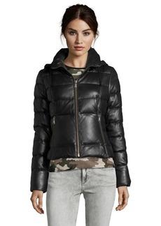 Andrew Marc black lamb skin leather 'Taryn' hooded duck down jacket