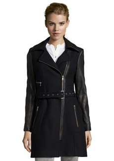 Andrew Marc black leather and wool blend 'Lacey' asymmetrical zip front coat