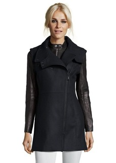 Andrew Marc black leather and wool blend 'Lara' asymmetrical zip front coat