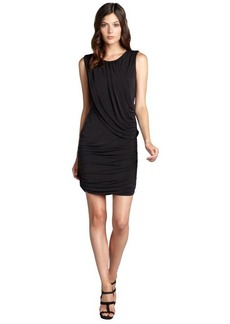 Andrew Marc black matte jersey grecian sleeveless dress