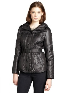 Andrew Marc black quilted 'Dakota' belted and hooded down jacket