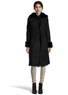 Andrew Marc black shearling 'Sabrina' fur trim hooded coat