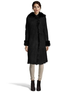 Andrew Marc black shearling 'Sabrina' fur trim hooded coat