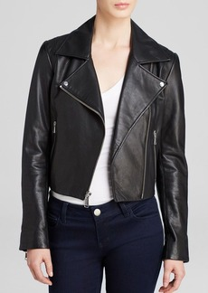 Andrew Marc Caitlyn Structured Moto Leather Jacket