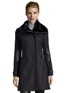 Andrew Marc charcoal wool 'Mara' asymmetrical fur trim coat