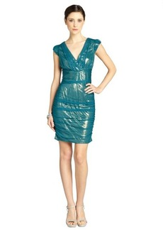 Andrew Marc dark emerald pleated mesh cap sleeve dress