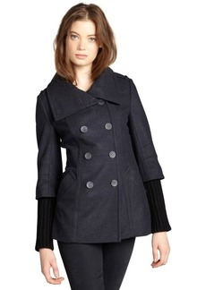 Andrew Marc dusty blue and black wool blend 'Frankie' buttoned knit sleeve peacoat