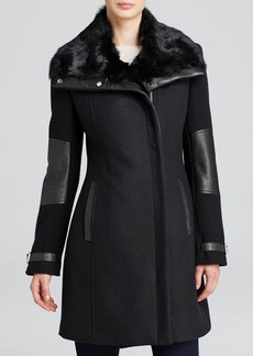Andrew Marc Fur-Lined Mara Mixed-Media Coat