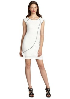Andrew Marc ivory stretch jersey cap sleeve contrast piped dress