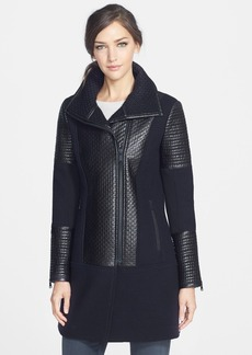 Andrew Marc 'Kim' Textured Wool Blend & Leather Coat