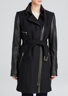 Andrew Marc Lacey Mixed-Media Trench Coat