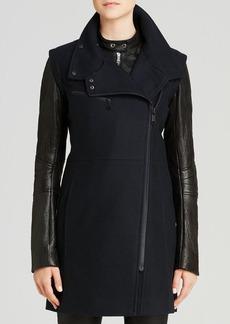 Andrew Marc Lara Leather Sleeve Coat