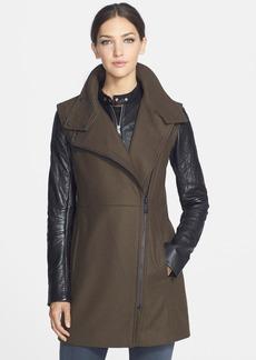 Andrew Marc 'Lara' Wool Blend & Leather Asymmetrical Zip Coat
