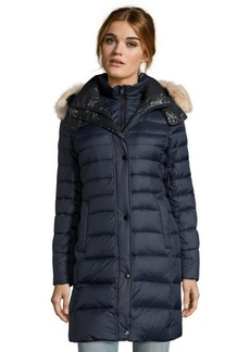 Andrew Marc navy box quilted 'Gayle' hooded 3/4 length down jacket
