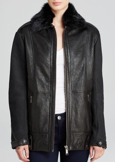 Andrew Marc Nina Fur Collar Leather Jacket