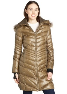 Andrew Marc olive quilted down filled 'Renee' fur trimmed hooded coat