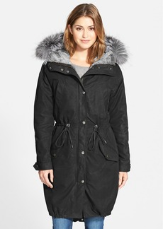 Andrew Marc Oversize Army Parka with Genuine Fox Fur Trim & Rabbit Fur Liner