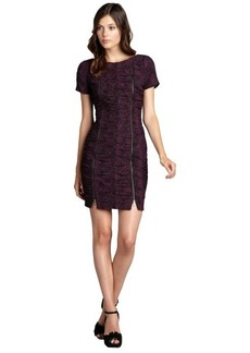Andrew Marc pink and black ruched zip short sleeve dress