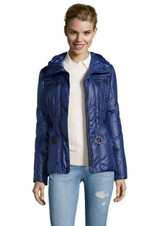 Andrew Marc royal blue quilted 'Dakota' belted and hooded down jacket