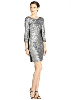 Andrew Marc silver three-quarter sleeve sequin dress