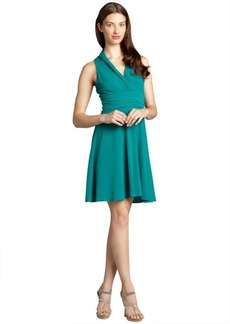 Andrew Marc spearmint jersey v-neck halter hi-low dress