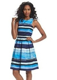 Andrew Marc® Striped Fit And Flare Dress